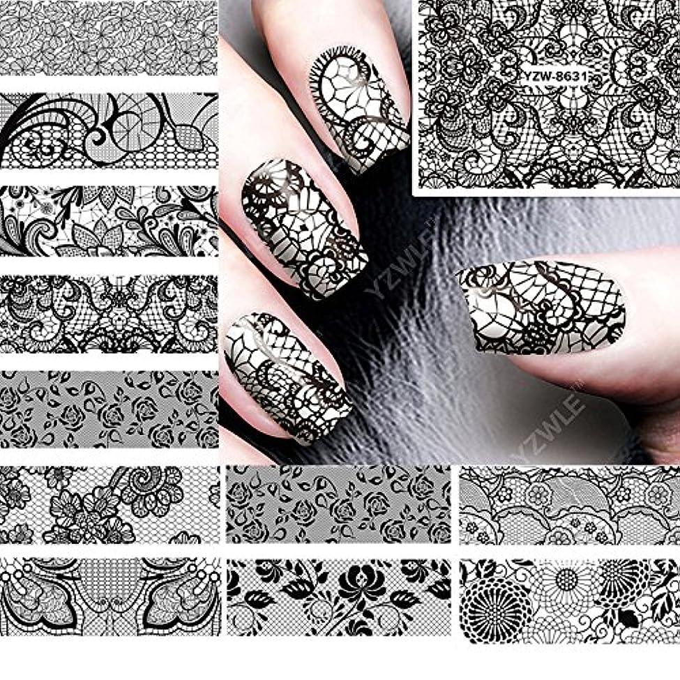 パットメッセージ規模Ithern(TM)12PCS /ロット美しさ黒のレースの設計水の転送ネイルアートステッカーデカール爪の装飾のためのマニキュアツールに62536をアクセサリー