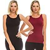 Kurve Women's Sleeveless Tank Top – 2 Pack Lightweight Scoop Neck Camisole Stretch Workout Yoga Cami Shirts (Made in USA)