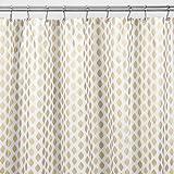 mDesign Diamond Fabric Shower Curtain - 72 x 72 Gold/Metallic