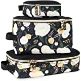 Chelsea + Cole for Itzy Ritzy Packing Cubes – Set of 3 Floral Packing Cubes or Travel Organizers; Each Cube Features a Mesh T