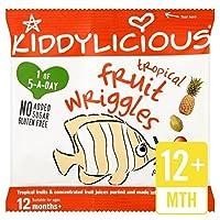 Kiddyliciousトロピカルフルーツは、12グラムをうごめきます (x 4) - Kiddylicious Tropical Fruit Wriggles 12g (Pack of 4) [並行輸入品]