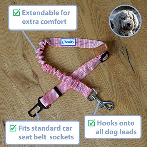 Zenify Dog Car Seat Belt Extendable Leash (2 Pack) - Bungee Lead for Dogs Puppies - Pet Adjustable Elastic Seatbelt Harness Vehicle Safety Birthday Road Trip Gift Idea (Pink)