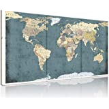 Welmeco Large 3 Pieces Vintage Blue Map of The World Canvas Prints Retro Detailed Push Pins World Travel Map Canvas Art Livin