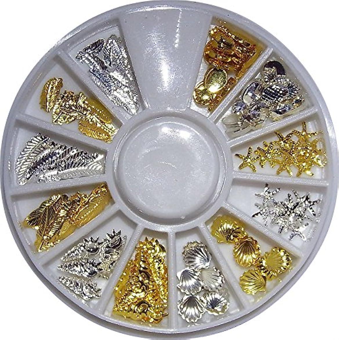大宇宙クーポン遠い【jewel】hk9 マリンパーツ ゴールド&シルバー サマーネイル レジン用メタルパーツ 各種10個入り