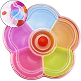 Hslife Separable Colored Flower Shaped Fruit Bowl Snacks Bowl, Candy and Nut Serving Container Appetizer Tray with Lid, 6 Com