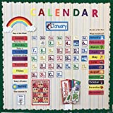 Richardy 148PPcs/Set Calendar Wall Date Month Week Festival Season Holiday Time Solar Term Weather Kids English Flash Cards Pocket Card Educational Learning Toys for Children
