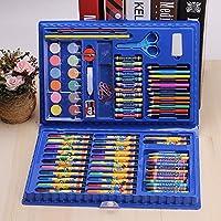 elegantstunning 水彩ブラシペンセット 86pcs /セット 水彩マーカーペン+クレヨン+カラーペン+パウダーケーキパレットペイントキット キッズアーツ図面ツール 青