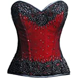 Plus Size Corset Red Satin Black Handmade Sequins Overbust Waist Trainer Costume