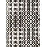 RUGGABLE Washable Indoor/Outdoor Stain Resistant Area Rug 2pc Set (Cover and Pad) Modern Fretwork Rich Grey & White (152 x 213cm)