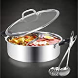 Hot Pot with Divider Stainless Steel Shabu Shabu Pot for Induction Cooktop Gas Stove 12.6'' Suitable for 4-5 Person (12.6 inc