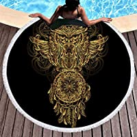 4urneedフクロウ夏Hippyボヘミアンタペストリービーチマットテーブルクロス、ピクニックブランケットヨガマット、直径150 cm
