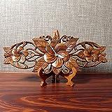 アジアン・バリ木彫り・時計:手彫りのステキな3連プリメリア掛け時計!今ご注文分にはスタンド付属します!
