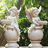 OwMell Set of 2 Cherubs Angels Statue Candle Holder, 9.5 Inch Weathered Antique Resin Angels Garden Statue Figurine for Indoo