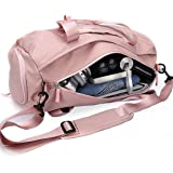 Gym Bag for Women, Workout Duffel Bag Shoe Compartment, Sports Gym Bags with Wet Pocket and Shoe Compartment, Pink, Pink (Pin