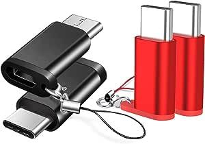 【4個セット】BRG Usb Type C 変換 ,Micro USB → USB-C変換アダプタ アルミニウム合金製 type c ChromeBook Pixel、Nexus 5X、Nexus 6P、Nokia N1、エクスペリア、OnePlus 2 、Galaxy S8、 note8、samsung s9 、samsung s9 plus、samsung s9+などType-C端末に対応(黒+レッド)
