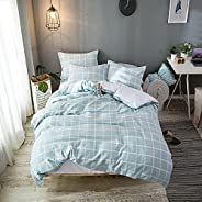 Merryfeel Doona Cover Set,100% Cotton Waffle Woven Check Quilt Cover Set - Queen