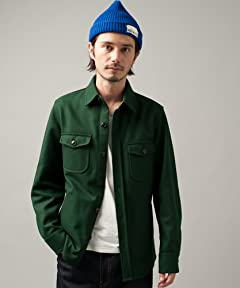 Light Melton CPO Jacket 3225-139-1647: Dark Green