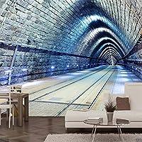 Ljjlm 3D抽象時間トンネル壁紙壁画クリエイティブプリント写真壁紙用Ktvバー壁の装飾絵画壁画カスタムサイズ-420X280cm