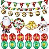 Burning Go バルーン クリスマス 飾り付け サンタクロース 雪だるま アルミ風船 空気入れ 風船セット 旗 紙 吊り飾り DIY パーティー 演出 部屋 飾り 可愛い 雰囲気 おしゃれ