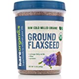 BareOrganics Ground Flaxseed | USDA Organic, Vegan, Non-GMO | Fiber | Omega Fatty Acids, 12oz
