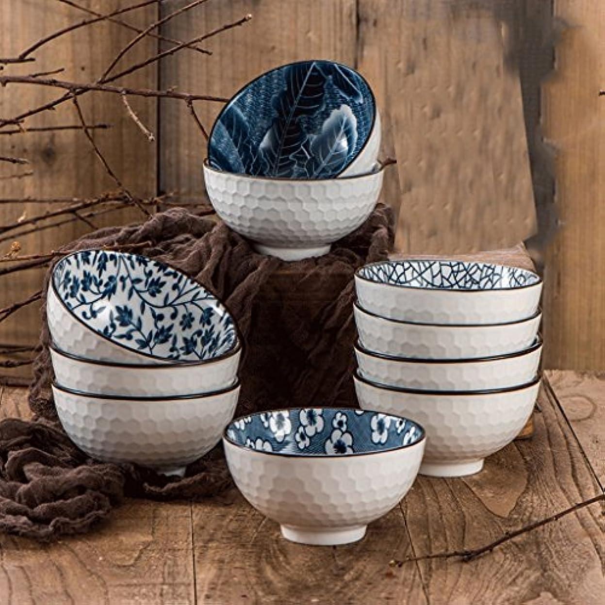 の前で演劇明示的にセラミックボウル 青と白の磁器ボウル、セラミックスーツ日本の家庭の贈り物はロードカトラリー、[2、4、6、10]機器箸でスープを食べます ホーム (サイズ さいず : 10)
