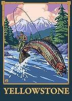 Fly Fishingシーン–イエローストーン国立公園 12 x 18 Art Print LANT-13619-12x18