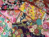 和調花柄きもの風の生地がいっぱい トライアルセット10枚 (和柄の布・生地の着物風の柄のハギレ・カットクロス)【 の 】