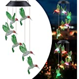 Color Changing Wind Chime Solar Powered Hummingbird Wind Chime Lights Wind Mobile Portable Waterproof Outdoor Decorative Wind