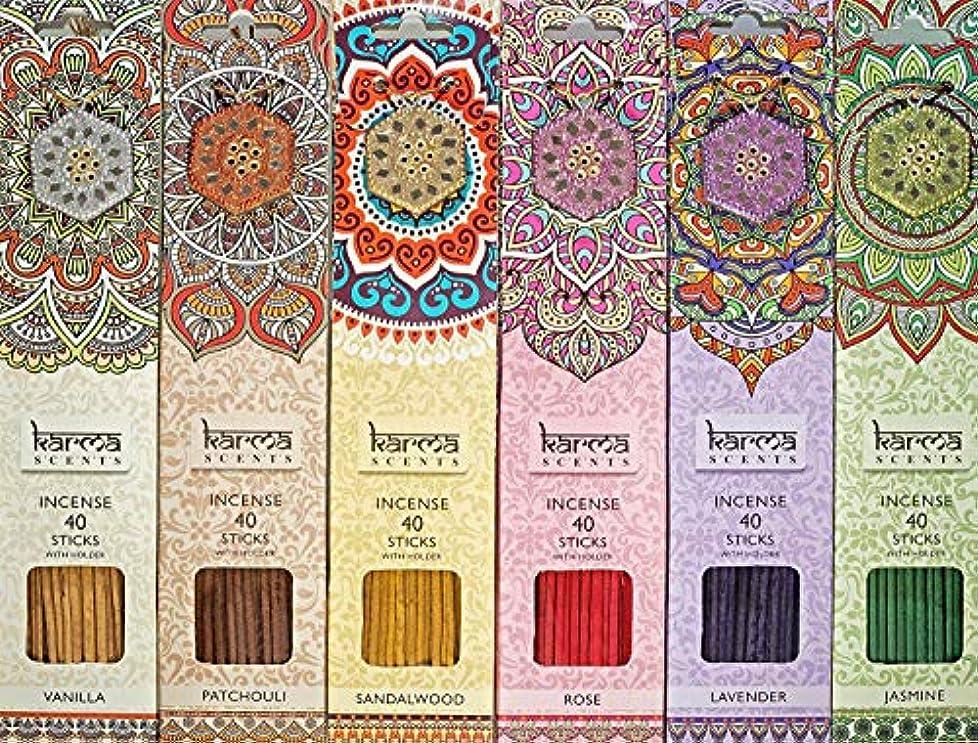 にぎやか魅力的ベリーKarma Scents プレミアム お香スティック 6本セット ラベンダー パチョリ バニラ サンダルウッド ジャスミン ローズ 各パックに輝くホルダーが各ボックスに240本入っています。