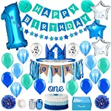 Baby 1st Birthday Boy Decorations in Sea Green and Blue - First Birthday Decorations Boy - High Chair ONE Banner Decorations in Star Theme | Cake Smash Party Supplies - Royal Prince Crown, Balloons