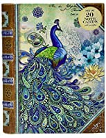Punch Studio Paisley Peacock Note Cards in Keepsake Book Box (43710), 20 ct [並行輸入品]