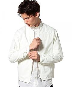 Cotton Nylon Twill No Collar Zip Blouson 3225-199-1867: White