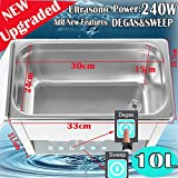 Digital Ultrasonic Cleaner, Large Capacity Stainless Steel with Heater and Digital Timer for Electronic Tool Jewelry Watch Glasses Rings (10L(Upgraded))