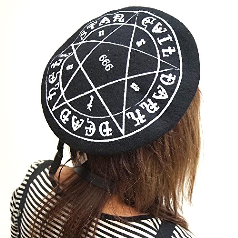 HELLCATPUNKS (ヘルキャットパンクス) ベレー 帽子 レディース ペンタグラム ブラック C425-20