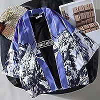 Japanese Retro Seven-Point Sleeve Shirt Men's Cardigan Couple Loose-Snow Mountain CQQO (Color : Snow Mountain Kimono, Size : M)