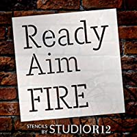 "Ready Aim Fire–Skinny–Wordステンシル–11"" x 11""–stcl2161_ 1–By studior12"