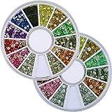 カラーラインストーン ネイル デコ用 ラウンドケース入 12色 2個/セット 2mm&3mm
