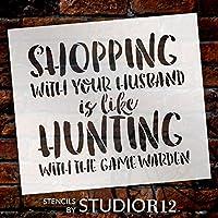 """ショッピングLike Hunting–Wordステンシル–8"""" x 7""""–stcl1848_ 1–By studior12"""