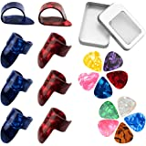 URlighting 8 Pcs Guitar Finger Picks Thumb Picks, 10 Pcs 2 Size Guitar Picks with Storage Box, Guitar Fingertip Protectors St