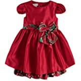Bonnie Jean Baby Girl's Holiday Christmas Dress - Red with Plaid Sash for Baby and Toddler