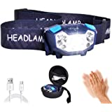 LETOUR LED Headlamp Gesture Sensing Headlight 350 Lumens 200Meters Lighting 5 Modes The Lightest(1.9 oz) Cree Waterproof Rech
