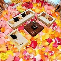 Mbwlkj 3D ロマンチックな花びら床塗装壁紙の遊び場の装飾が施されていないバラのスリップの養樹園の着床の壁画がある。-300Cmx210Cm