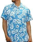 ROUSHATTE(ルーシャット) アロハシャツ コットン 裏使い 総柄プリントシャツ ターコイズ L