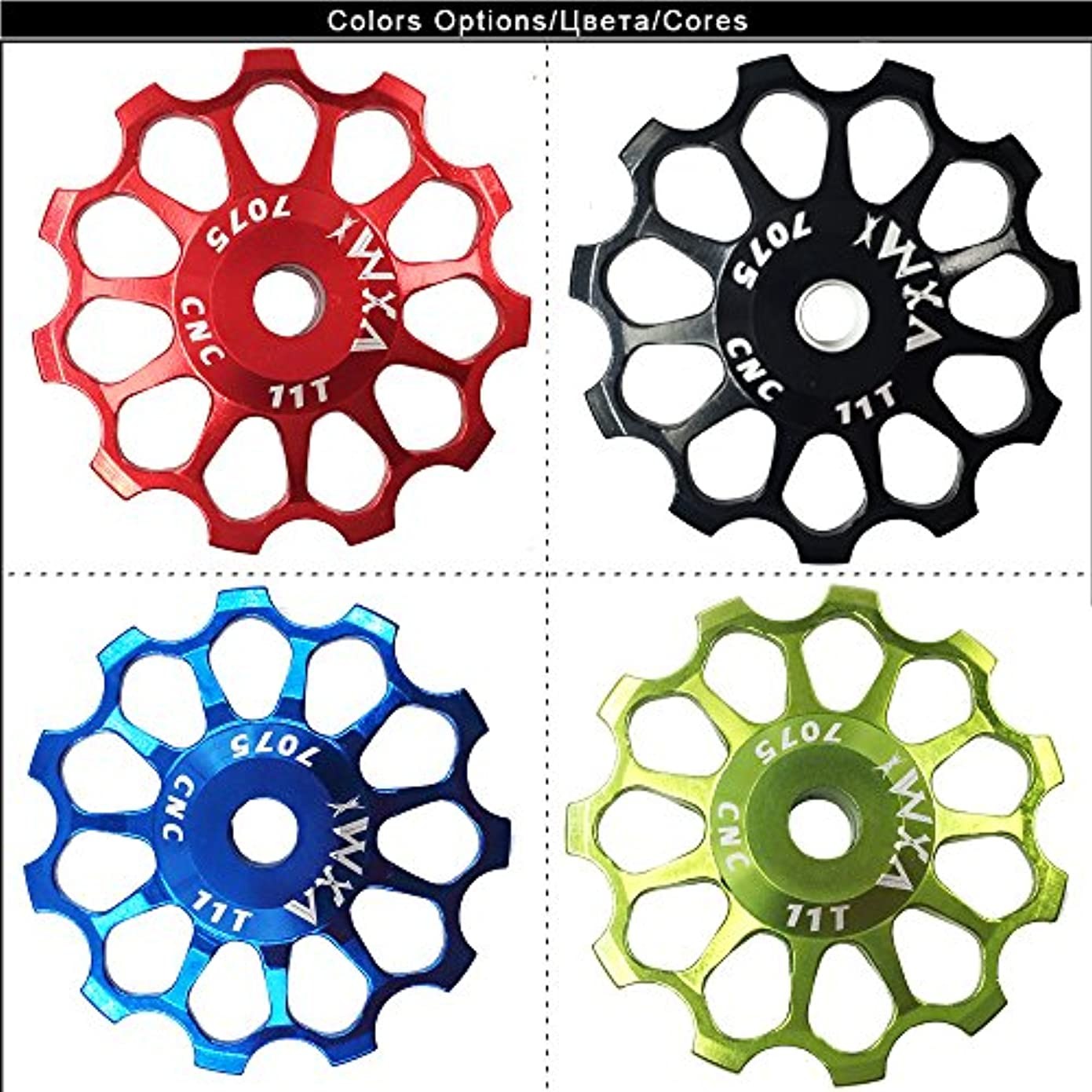 追い払う里親条件付きVxm自転車リアディレイラージョッキーホイールガイドサイクリングセラミックス軸受サイクリングバイクアクセサリー_11T緑