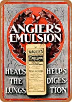 Shimaier ブリキ 看板 壁の装飾 メタルサイン Angier's Emulsion for Throat and Lungs ウォールアート バー カフェ 30×40cm ヴィンテージ風 メタルプレート