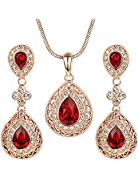 Yoursfs Vintage Jewelry Set Crystal/CZ Earrings Necklace Filigree Design Bridal Jewelry Gift Set