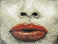 大理石モザイク 官能的な唇 壁装飾 壁画 寝室、バスルーム、リビング、外壁などに素晴しいハンドメイドの高級モザイク装飾 タイルアート
