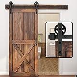 WINSOON Single Wood Sliding Barn Door Hardware Basic Black Big Spoke Wheel Roller Kit Garage Closet Carbon Steel Flat Track S