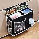 ベッド ソファー掛け袋サイド ポケット 掛け袋テーブル整理 リモコン/小物収納 ラック(ブラック)