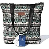 VAVAER Floral Tote Bag with Light Color Interior - Waterproof Lightweight Travel Shoulder Bag Summer Handbag Purse for Hiking Yoga Gym Swimming Travel Beach